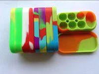 recipientes de aceite de silicona al por mayor-6 + 1 Jarrones Dab Contenedor de silicona Caja de silicona para cera de cera Para atomizador Vaporizador E Caja de aceite de cigarrillo Reutilizable Caja de cera de silicona Contenedores de cera