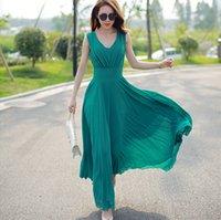 beyaz yeşil şifon elbiseler toptan satış-Yeni Moda Beyaz / Yeşil Uzun Maxi Plaj Elbise Kadınlar Yaz Şifon Elbise Tunik