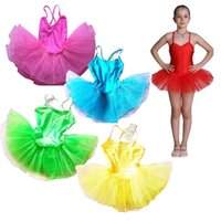 Wholesale free kids pageant dresses - kids ballet dresses pageant tutus Spaghetti Strap girls dance party dress ballet tutu for children candy color free shipping in stock