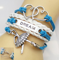 Wholesale American Girl Charm Bracelet - Ballet Dance girl dream Infinity bracelets leather bracelets with claw clasp hy1099