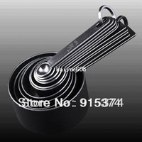 Wholesale Black Baking Cups - Free Shipping 10Pcs Black Measuring Spoon & Cup Measure Set for Baking Coffee
