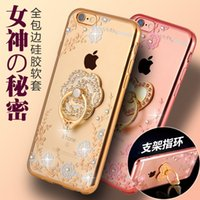 Wholesale Decorate Iphone - Luxury TPU Rhinestone case Leisure artificial gems decorated Phone Case For iPhone 6s iPhone 6 plus Shapes flower heart ring
