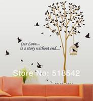 pássaros do amor adesivos venda por atacado-Frete Grátis: 10 Conjunto Grande Árvore Marrom Pássaro