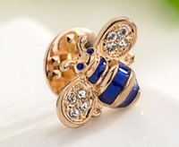 Wholesale Italina Brooch - 3pcs Italina Regent jewelry Alloy plating K gold Austria crystal Clothes pin brooch cute lovely small Bee