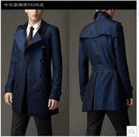 zanja larga azul al por mayor-Caída-Azul caqui doble botonadura negro largo trench coat hombres estilo británico gabardina abrigo de guisantes hombres mens baratos abrigos de invierno cinturón 2xl