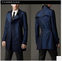 Wholesale Cheap Black Trench Coat Men - Fall-Blue khaki double breasted long black trench coat men british style trench coat pea coat men cheap mens winter coats belt 2xl