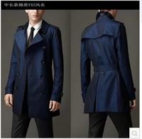 faixa azul dos homens venda por atacado-Queda-Azul cáqui trespassado longo preto trench coat homens estilo britânico trench coat casaco de ervilha homens baratos mens casacos de inverno cinto 2xl