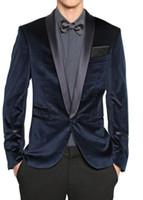 Wholesale Blue Smoking Jacket - New custom groom fashion shawl lapel smoking jacket groom for man male wedding dress suit