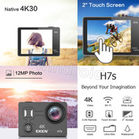 Wholesale professional camera cheap online - Cheap EKEN H7S Action Sports Camera quot Touch Screen Native K Wide Angle WiFi Control M Waterproof DV HDMI With Remote Control H5S