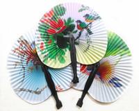 Wholesale Paper Deco - Paper Fan Small Hand Fan Folding Retro Bun Paper Deco Fan Wedding Tourism Gift
