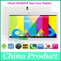 3g tablette pc mtk6572 doppelkern großhandel-WCDMA 3G 10inch 3G Telefon Tablet PC MTK6572 Dual Core Android 4.2 1GB 8GB Errichtet in 3G GPS Doppel-SIM Kapazitive Bildschirm Bluetooth Phablet 002471