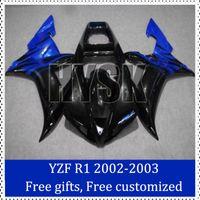 Wholesale Custom Painted R1 Motorcycle Kits - For Yamaha 2002 20003 YZF R1 Motorbike Fairing Kit Blue black 02 03 YZF R1 Custom Painting Motorcycle Fairing with free gifts brand new