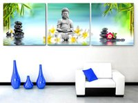 Wholesale Modern Oil Painting Green - 3 Panel Modern Nature Green Wall Painting Religion Buddha Oil Painting For Home Modern Decoration Art Picture On Canvas Prints
