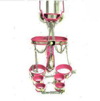Wholesale Types Bdsm Handcuff - HOT new BDSM suit Male T-type Chastity Belt + Collar + handcuffs +Thigh Cuffs + ankle cuffs+ butt plug + catheter tube + Bra