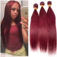 Прямые комплекты человеческих волос 99j Wine Red Russian Human Virgin Hair Extensions 3Pcs / Lot Burgundy Straight Hair Weave