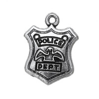 Wholesale Diy Police - Free shipping New Fashion Easy to diy 20pcs police dept vintage metal charm jewelry making fit for necklace or bracelet