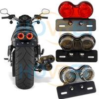 ingrosso freni motociclistici yamaha-12V Vintage Cafe Racer Flashers universale moto Led luce freno con cornice targa fanale posteriore per Harley YAMAHA