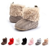 Wholesale Cheap Toddler Warm Boots - Baby Cotton Boots Wool Knitting Shoes Infants Winter Warm Boot Toddler Indoor Anti-slip Shoes Walkers Prewalker Cheap Free DHL 552