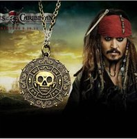 Wholesale Copper Aztec - Pirates of the Caribbean Aztec Gold Coin Necklace Men Skull Sweater Pendant Jewelry Gold Silver Bronzer necklace with Free Shipping