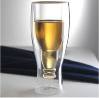 Wholesale Double Wall Glass Cup Milk - Hopside Down Bottle Creative Double Wall Beer Wine Milk Beverage Vodka Shot Glass Beer Mug Drinking Cup Durable Cups for Party Bar 350ML