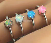 Wholesale Fire Opal Rings Wholesale - Wholesale-2015 High Quality Wholesale & Retail Jewelry Blue Pink Fire Opal 925 Sterling Silver Jewelry For Women Ring Size7   8   9