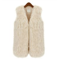 Wholesale Women Black Fur Vest - S5Q Lady Waistcoat Women Faux Fur Shaggy Vest Sleeveless Slim Coat Outerwear Jacket AAAELM