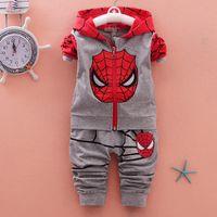 Wholesale Spiderman Sweatshirt - Autumn Spring Tracksuit Baby Boy Sports Suits Kids Clothes Spiderman Hoodies Sweatshirt Children Boys Cartoon Clothing Sets