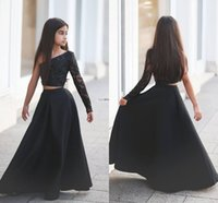 Wholesale Elegant Children Dresses - Elegant Black Two Piece Girl's Pageant Dresses 2018 Single Long Sleeve A Line Long Children Wedding Dress Flower Girl Gown First Comunion