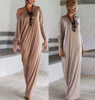 Wholesale Cheap Long Sleeve Loose Dresses - 2016 Cheap New Spring Autumn Women Maxi Dresses Long Sleeves Irregular Plus Size Oversize Loose Wrap Dress Ladies Casual Dress OXL15092107