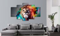 Wholesale Large Fashion Painting - 5 piece Painting wall art large painting colour lion animal canvas prints living room decoration pictures Free Shipping F 802