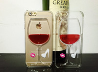 2015 caixa do telefone New 3D Fun Crystal Clear Rodada dura Wine Hourglass vermelho para iPhone 5S 6 Plus entregas DHL Tampa gratuito