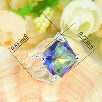 Wholesale Gem Square Ring - 10 Pieces 1 lot Mother Gift Square Fire Mystic Topaz Gems 925 Sterling Silver Ring Russia American Australia Weddings Ring Jewelry Gift