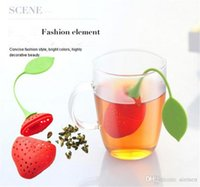 Wholesale cartoon hangers - Strawberry Shape Silicon Tea Infuser Strainer Silicon Tea Filler Bag Ball Dipper Tea Tools Cup Hanger 50pcs