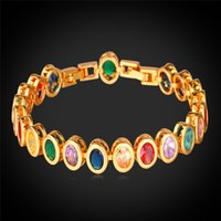Mulheres Luxor Oval Multicolor Cubic Zirconia Jóias Presentes 18K Real Gold / Platinum Plated Cute Gemstones Tennis Bracelets
