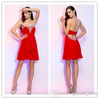 2015 Sexy Red Short Sheath Sequin Homecoming Dresss Prom Coustom Made 100% Real Image Graduation Party Dresses Мини-шифон Коктейльные платья
