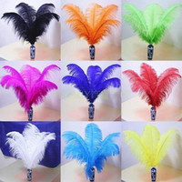 Wholesale orange wedding table decorations resale online - 14 Inch White black red pink royal blue turquoise orange purple Ostrich Feather Plumes for Wedding centerpiece table centerpiece