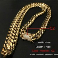 14 milímetros Cool Mens Chain Gold Tone 316L Stainless Steel Necklace Curb Cuban Link Chain com Diamond Clasp Lock Hip Hop Jewelry