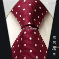 Wholesale Maroon Tie - Wholesale-S15 Dots Dotty Maroon Red White Mens Neckties Ties 100% Pure Silk Ties For Men silk Wedding Men Ties For Men Brands