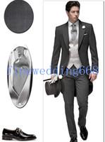 Wholesale Hi Lo Peak Lapel One Button Classic Fit Groom Tuxedos Wedding Party Groomsman Suit Wedding Party Suit Jacket Pants Tie Vest Shoes