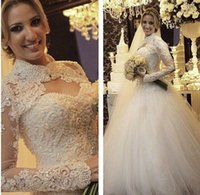 Wholesale High Collar Lace Bolero Jacket - 2016 Wedding Dresses with Long Sleeves Bolero High Neck Sweetheart Beaded Appliques Cathedral Bridal Wedding Gowns with Jackets