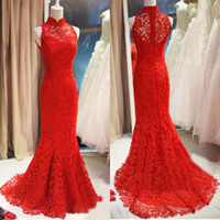 Wholesale Newest Style Evening Gown Dresses - Newest Style Red Lace Evening Dresses High Neck Mermaid Sweep Train Simple Design Long Ladies Formal Gowns Custom Made E155