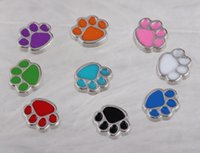 Wholesale Paw Floating Charm - Floating lockets Charms Dogs Paw Print Cats Enamel Vintage Silver For Floating Locket 30mm Bracelet Fashion Jewelry Alloy Making Gifts A36