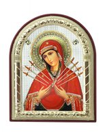 Wholesale Seven Swords - can custom Metal silver icon virgin mary seven swords byzantine art style home decoration pendant Catholic baptism gifts
