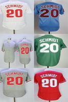 Wholesale Philadelphia Kid - Cheap Discount Mens Womens Kids Toddlers Philadelphia 20 Mike Schmidt Blue Green White Grey Red Throwback Retro Stitched Baseball Jerseys