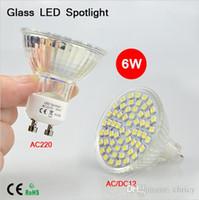 mr16 led smd 12v ac achat en gros de-Super lumineux Full Watt 6W GU10 MR16 LED ampoules corps en verre résistant à la chaleur CA 12V 220V 60 LEDs Projecteur 3528SMD pour l'éclairage intérieur