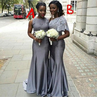 Wholesale Top Quality Satin Mermaid - Two Styles Silver Gray Long Bridesmaid Dresses Ruched Mermaid Maid of Honor Party Dresses Custom Made Top Quality Satin Evening Gowns
