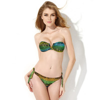 Wholesale V Wire Bandeau - New Animal Print Bathing Suit - Blue Green Snake Skin Pattern V Wire Strapless Bandeau Bikini Swimwear