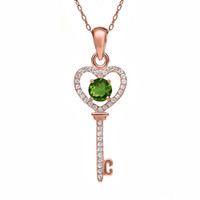 Gros-0,94 Ct Round Natural Vert Chrome Diopside or 14K Pendentif Rose