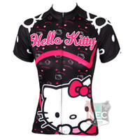 Wholesale Short Sleeve Bike Jersey Woman - 538 Hello Kitty Black color Women Short Sleeve Cycling Jersey Bike outlet ciclo Jersey Plus Size maillot Geniune Paladin