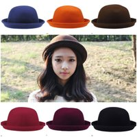 Wholesale Red Bowler - Unisex Stylish Cashmere Hat Autumn Bowler Hats Trendy Stingy Brim Hats Colors Choose DDP*1